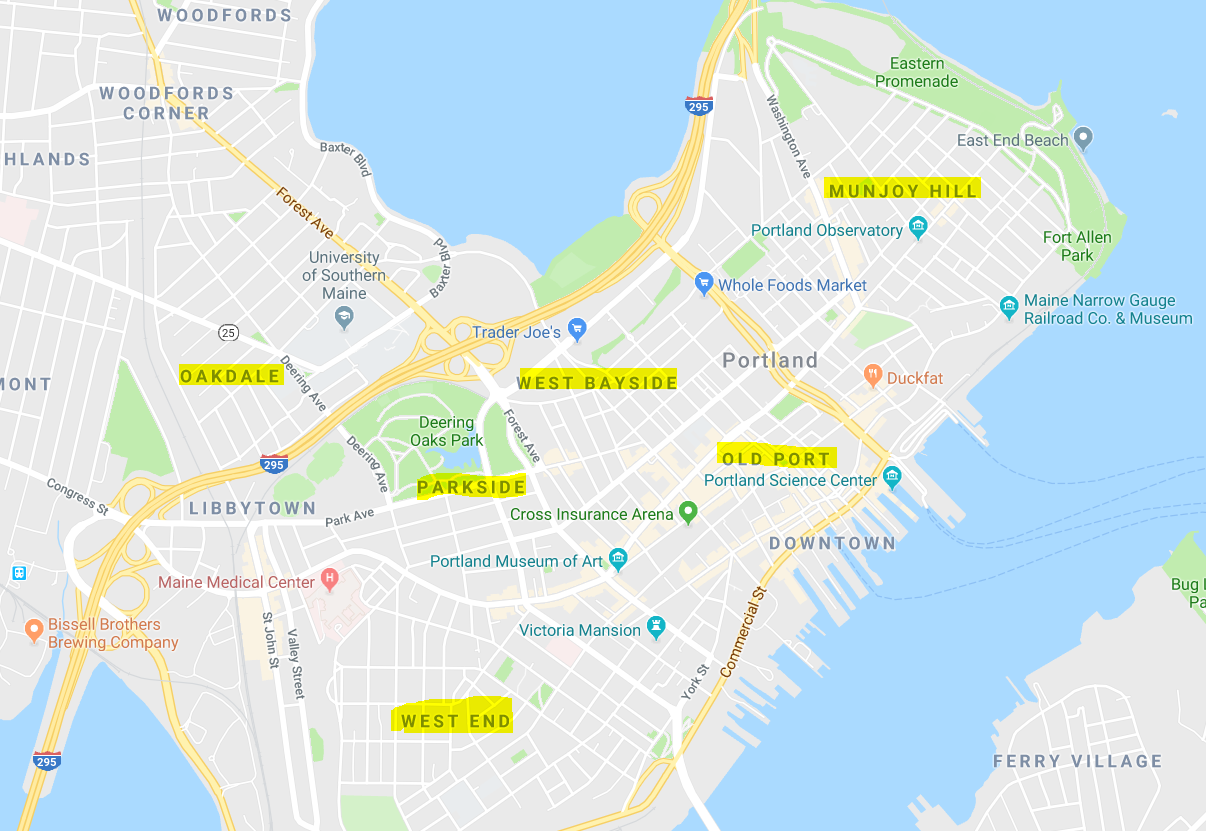 map of portland maine and surrounding areas Best Neighborhoods In Portland Maine Portland Me Noyes Hall map of portland maine and surrounding areas