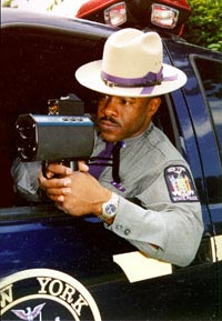 Police officer with radar gun