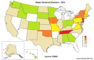 Map of major disasters in the US in 2011