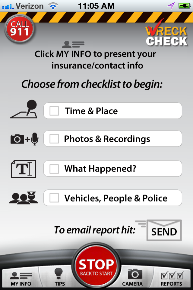 WreckCheck's Checklist Screen