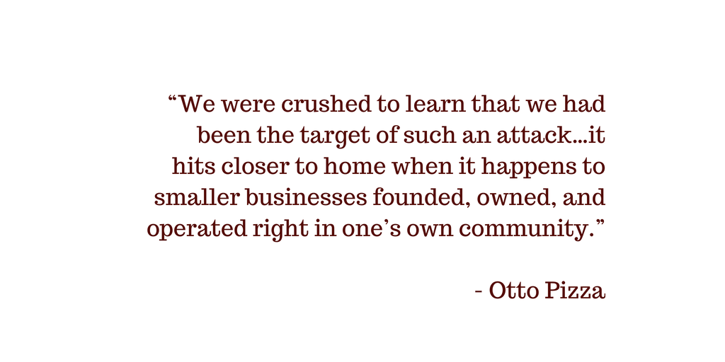 Quote from Otto Pizza about theft of their customers' data