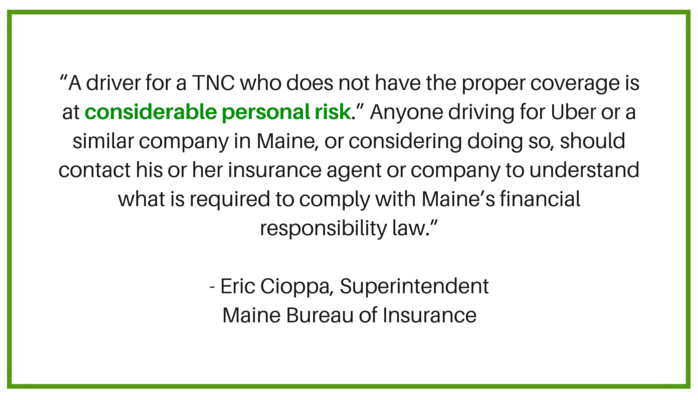 Uber insurance in Maine - quote from Eric Cioppa