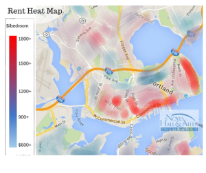 Portland Maine rent heat map